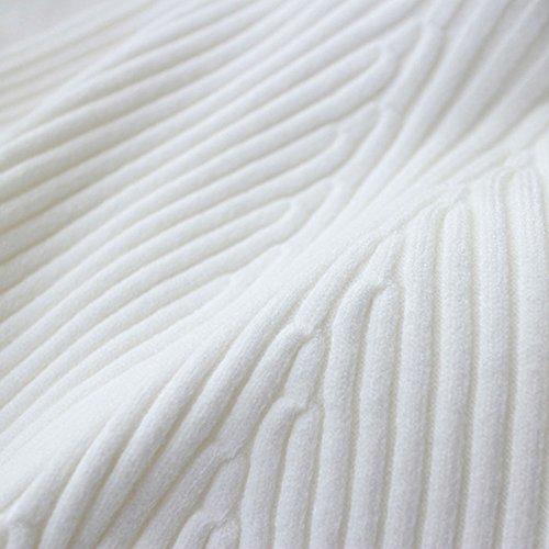 Donna Maglione Maglia Manica Lunga Blusa Casual Elegante Slim Fit Vestito Bianco