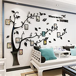 JYSPORT DIY 3D Crystal Acrylic Painting Wall Decoration Large Photo Frame Tree Wall Decals Tree Wall Stickers Room Decor Mural Wall Art (XL, Black)