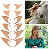 Auidy_6TXD 6 Pairs Latex Elf Ear Pixie Dress Up Costume Soft Pointed Goblin Ears for Halloween Christmas Cosplay Party