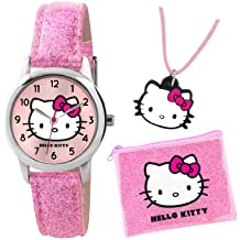 TIKKERS HELLO KITTY GIRLS PINK GLITTER EFFECT WATCH, PURSE AND NECKLACE SET - AHK001
