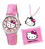 Orologio Hello Kitty rosa glitterato da bambina con collana e borsa.