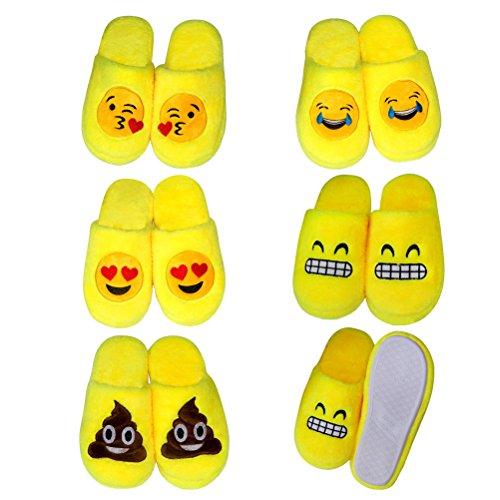 LUOEM Pantofole Peluche Ciabatte Invernali Pantofole da Casa Morbide Calde Antiscivolo Donna Uomo (Divertente Faccia Sorridente Cacca) Giallo