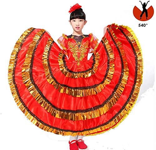Kind Spanische Kostüm Tänzerin - SMACO Kinder Spanisch Tänzer Kostüm Sexy Flamenco Tänzerin/Mädchen Flamenco Tanzkleid,540°,150CM