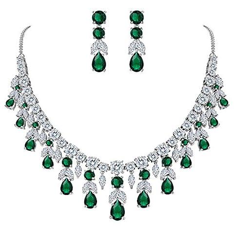 Clarine Damen Hochzeit Braut CZ Cluster Blatt Tropfen Statement Halskette Dangle Ohrringe Set Smaragd-farbe Silber-Ton