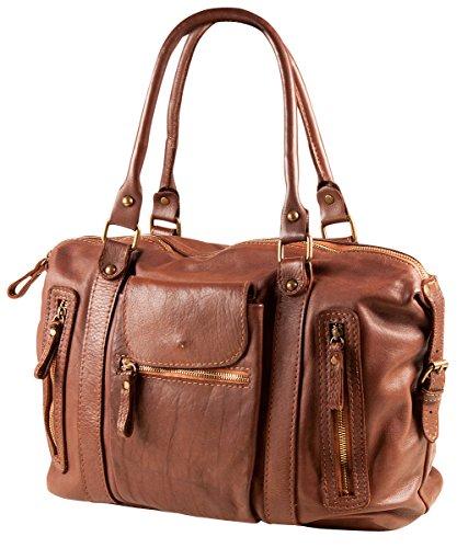 PELLE ITALY Leder Handtasche PI10086 Damen Schultertasche Leder 36x24x14 cm (BxHxT), Farbe:Schwarz Schwarz