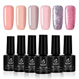 Beetles Gel Nail Polish Set - Pink and Nude Peach Purple Glitter Colours Set Soak Off UV LED Requires Drying Nail Design Solon Kit, 7.3ml Each Bottle
