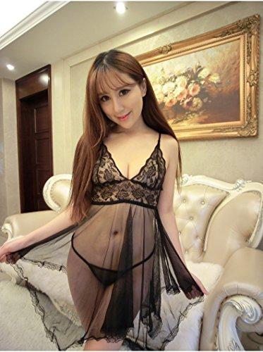 Pyjama de dentelle Ladies court ¨¤ manches longues Poly/coton Nightdress mode ¨¦t¨¦ Accueil jupe robe Black