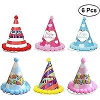 BESTOYARD 6 unids Niños Cumpleaños Sombrero Puntiagudo Pompom Ball Party Hats Decoración de la Fiesta de Cumpleaños (MZ84 + 85 + 86 + 87 + 92 + 93)