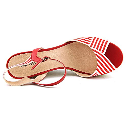 Nine West Breeze Femmes Toile Sandales Compensés Red-Wht