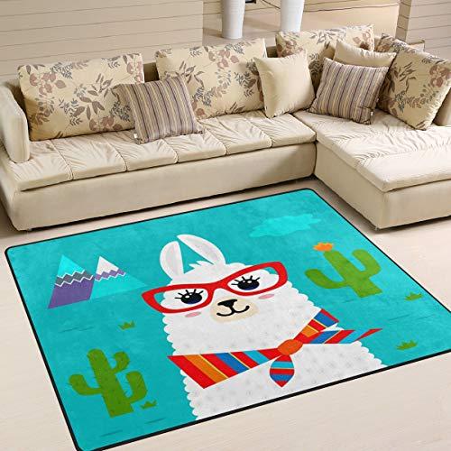 Use7?Funny Lama Alpaka mit Brille Kaktus Bereich Teppich Teppiche Matte f¨¹r Wohnzimmer Schlafzimmer, Textil, Mehrfarbig, 203cm x 147.3cm(7 x 5 feet)