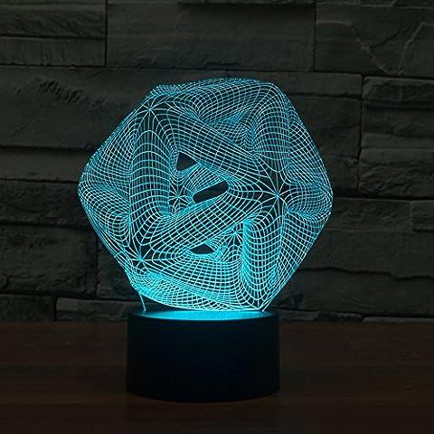Illusione 3d lampada luce notturna jawell astrazione Pattern 7Cambiare colore Touch USB tavolo regalo giocattoli decorazioni - Camera Pull String