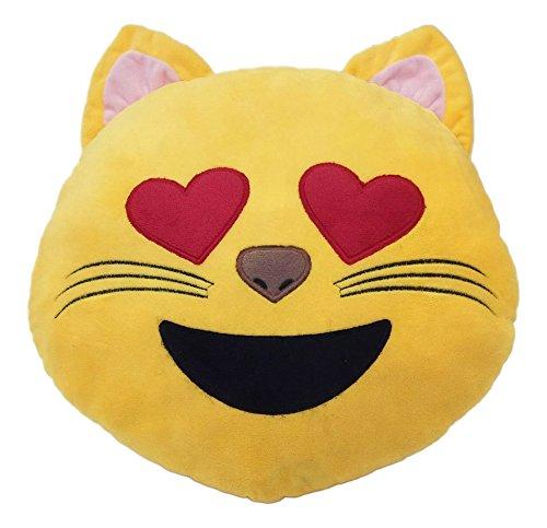 Emoji Kissen bunter lächelnder Kackhaufen Emoticon Rund Kissen Emoticon Gefüllt Plüsch Soft Geschenk Spielzeug Deko 100% Zufriedenheit oder Geld-zurück-Garantie. (Lächeln Sie Katze mit Herz-Auge)