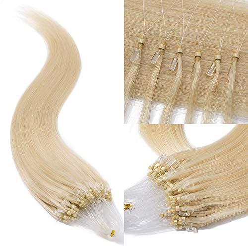 TESS Microring Extensions Echthaar 0,5g Loop Haarverlängerung Remy Human Hair Extensions 100 Strähnen 50g 50cm(#60 Weißblond)