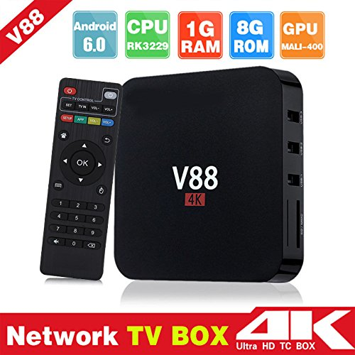 Hongfei (EU-Stecker) Android TV Box, Android 6.0 RK3229 1 GB + 8 GB Quad-Core-WiFi HD 4 K AV-HDMI-TV-Box für V88