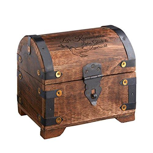 Casa Vivente Große Schatztruhe mit Gravur - Zur Kommunion - Motiv Taube - Dunkles Holz - Vintage Bauernkasse - Verpackung für Geldgeschenke - Geschenkideen zur Erstkommunion -