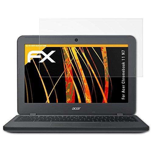 atFolix Panzerfolie kompatibel mit Acer Chromebook 11 N7 Schutzfolie, entspiegelnde & stoßdämpfende FX Folie (2X)