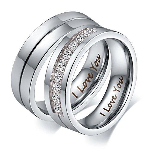 Paar Naruto (Aeici Silberringe für Männer Engagement Hochzeit Bands Paar Edelstahl Ring Größe 60 (19.1))