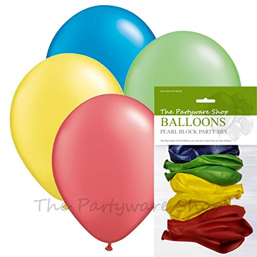 Pack of 12 Block Party Mix (LEGO Colours) Pearlised Helium Quality ...