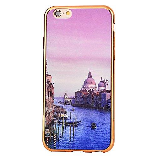 Apple iPhone 7 4.7 Hülle, Voguecase Schutzhülle / Case / Cover / Hülle / TPU Gel Skin (Bunt Herzen 08) + Gratis Universal Eingabestift Waterside Stadt