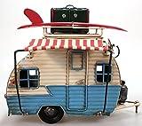 Wohnwagen aus Metall hellblau mit Rahmen und Spardose Camper Auto Oldtimer Nostalgie