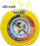 alles-meine.de GmbH LED Licht - Kinderwecker - Analog -  lustige Vögel - gelb  - incl. Name - Lernwecker - + -1 Minuten Schritten Anzeiger - Lernzifferblatt - für Kinder / groß..