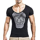 Schädel Druck T-Shirt Herren, DoraMe Männer 2018 Mode Persönlichkeit Bluse Casual Schlank Kurzarm Shirt Slim Fit Top Yoga Hemd (Schwarz, Asien Größe L)