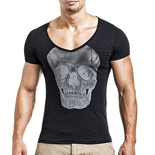 Schädel Druck T-Shirt Herren, DoraMe Männer 2018 Mode Persönlichkeit Bluse Casual Schlank Kurzarm Shirt Slim Fit Top Yoga Hemd (Schwarz, Asien Größe L) (Hanes-sport-schuhe)