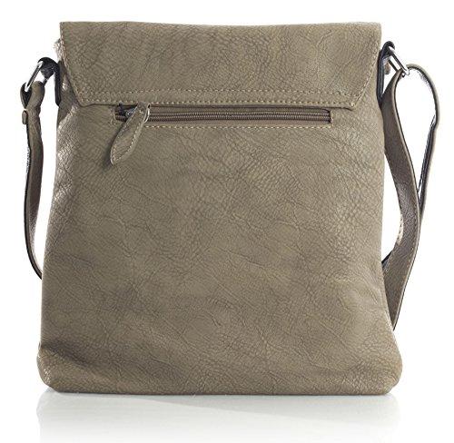 Big Handbag Shop Damen Umhängetasche aus Kunstleder mit Laschenöffnung Beige