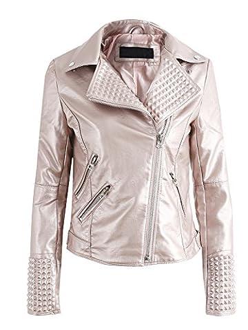 les femmes simplee punk rock les vêtements en cuir extérieur de la tenue de moto veste rose.
