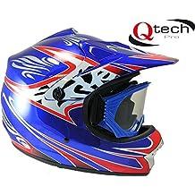 Casco protector y gafas para niños - Para motocross / todoterreno / BMX - Disponible en 7 colores - Azul - S (53-54 cm)