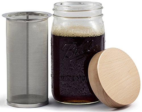 Einfaches Life Cycle Quart Mason Jar Kalten Brew Kaffee maker- mit Holz Mason Jar Deckel & Edelstahl Filter Mason Quart Jar