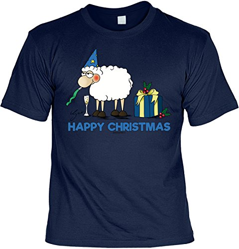 T-Shirt mit Weihnachts-Motiv: Happy Christmas, Schaf - Lustige Geschenkidee - Weihnachtsgeschenk - By Gali - Farbe: navyblau Navyblau