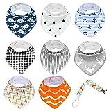 Baby Lätzchen Dreieckstuch, 8 Stück Baby Halstuch mit Schnullerkette für Baby Jungen und Mädchen