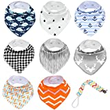 Baberos niña bandana, Baberos de bebé de tela de triángulo, pieza 8 pañuelo para el cuello bebé con chupete para bebe niños y niñas
