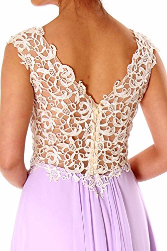 MACloth Women Lace Straps Chiffon Long Prom Dress Formal Party Evening Gown Gold