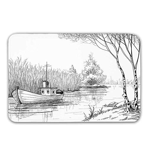 LIS HOME Wohnung Dekor rutschfeste Gummi Eingang Teppich, Boot auf dem Fluss durch das Wasser Schilf Angeln See Pflanzen handgezeichneten Stil Natur Kunst Fußmatte für Haustür Badematte (Teppich Gummi Boot)