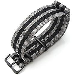 MiLTAT 21mm G10 watch strap ballistic nylon school look armband - Grey & Orange strips, PVD hardware