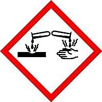 GHS Aufkleber - Warnung ätzende Stoffe - 50 x 50 mm - 100 GHS-Etiketten, Polypropylen, permanent haftend - Gefahrensymbol GHS 05