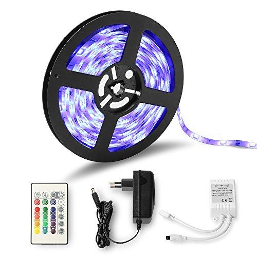 Tiras LED Luz, Lumin Tekco 5m 150 leds 5050 SMD RGB Multicolor Kit Completo con Control remoto de 24 botones y fuente de alimentación 12V 2A para la Decoración del Hogar