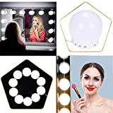 LED Spiegelleuchte für Schminktisch, Hollywood Spiegel Beleuchtung Makeup Licht, 10 Dimmbare Lampe,Verstellbare Länge & Farbtemperatur, 2 Farbmodus Spiegellampe, Kühles Weiß und Warmesweiß