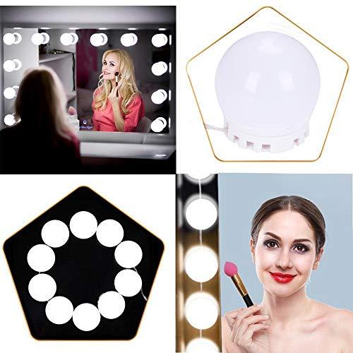 LED Spiegelleuchte für Schminktisch, Hollywood Spiegel Beleuchtung Makeup Licht, 10 Dimmbare Lampe & 2 Farbmodus Spiegellampe,Verstellbare Versteckte Verkabelung, Kühles Weiß und Warmesweiß