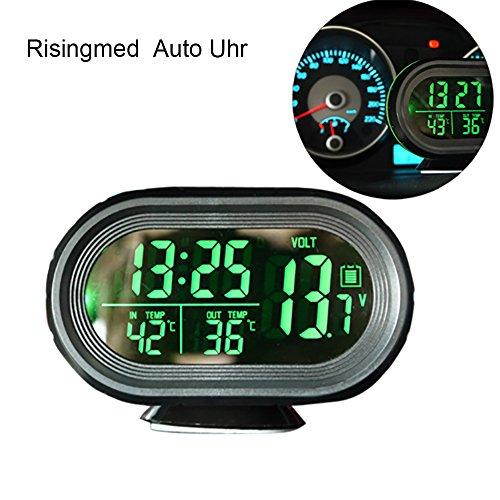 Digital Auto Thermometer Uhr MultifunktionTemperatur Voltmeter thermometer Auto Elektronische Wecker Messgerät Spannung Anzeige thermometer auto innen außen zigarettenanzünder mit LED Hintergrundbeleuchtung grün