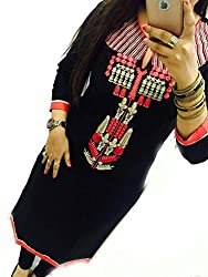 Selfie style Trendy Black color Georgette Embroidery semi stitched kurti