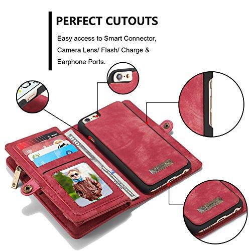 Wkae CaseMe abnehmbare Reißverschluss-Mappen-Leder-Kasten für Apple IPhone 6s plus 5.5 ( Color : Blue ) Red