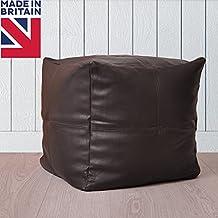 Premium tamaño grande cubo puff puf de pie taburete de piel, color negro