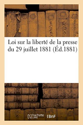 Loi sur la liberté de la presse du 29 juillet 1881
