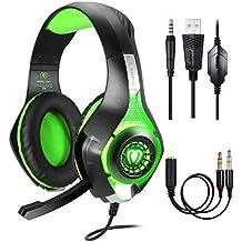 Samoleus Gaming Headset für PS4 PC Xbox One Computer, Stereo 3.5 mm Gaming Kopfhörer mit Mikrofon, LED Lichtfür PS4, PC, Mobiltelefon, Laptops, Mac, iPad, Smartphone, Playstation 4 (Green)