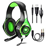 Samoleus Gaming Headset für PS4 PC Xbox One Computer, Stereo 3.5 mm Gaming Kopfhörer mit Mikrofon, LED Lichtfür PS4, PC, Mobiltelefon, Laptops, Mac, iPad, Smartphone, Playstation 4 (Green)