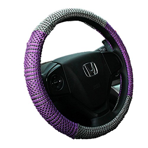Preisvergleich Produktbild Pormow Universal Anti-Rutsch-atmungsaktiv Ice Seide Auto Lenkradhüllen Dimension:37-38cm,Lila und Grau
