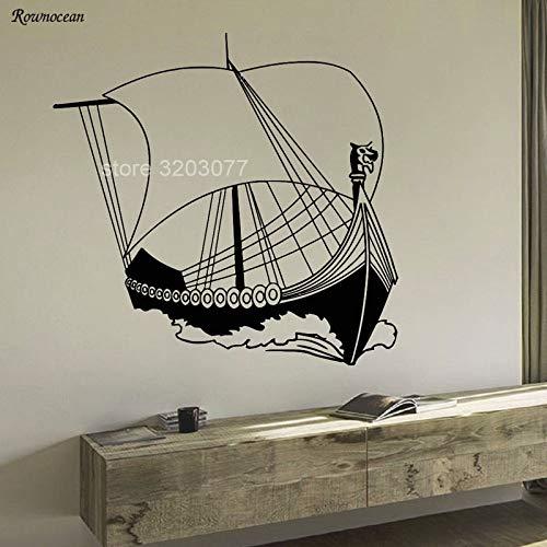 guijiumai Nautische Ornamente Alte Wikinger Schiff Meer Ozean Wohnkultur Für Wohnzimmer Vinyl Wandaufkleber Vintage Removable Art Murals grau 59x57 cm -